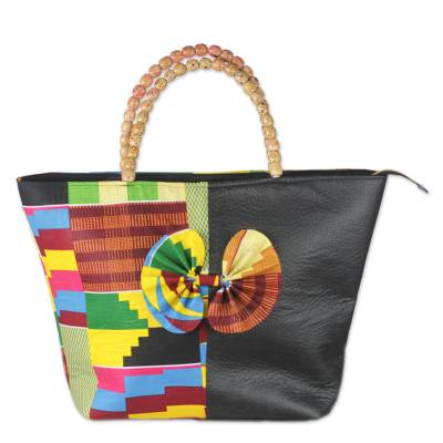 Cotton and faux leather handle handbag,