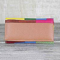Cotton and faux leather clutch bag, 'Kente Duo' - Handmade 100% Cotton and Faux Leather Multicolor Clutch
