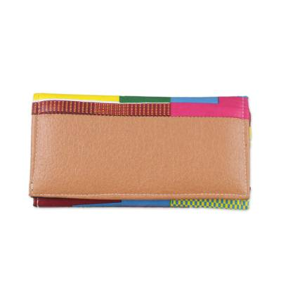 Novica Cotton and faux leather clutch bag, Kente Duo