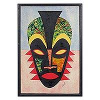 Cotton batik collage, 'Definitive Destiny' - Oil on Cotton African Mask Batik Cardstock Collage