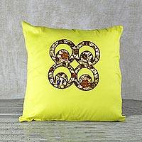 Cotton cushion cover, 'Marigold Commitment' - Adinkra Symbol Cotton Cushion Cover in Marigold from Ghana