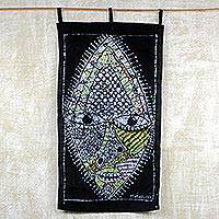Cotton batik wall hanging, 'Mask of Wisdom' - Handmade in Ghana 100% Waxed Cotton Mask Wall Hanging