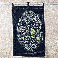 Batik cotton wall hanging, 'United Africa' - Handmade Cotton Batik Cultural African Mask Wall Hanging