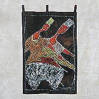 Cotton batik wall hanging, 'Affinity Dance' - Handmade Cotton Batik African Affinity Dance Wall Hanging