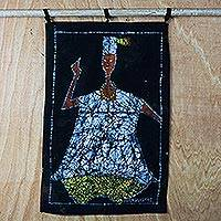 Cotton batik wall hanging, 'Fetish Priest' - Handmade Fetish Priest Cotton Batik Wall Hanging