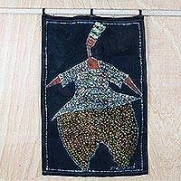 Batik cotton wall hanging, 'Dance for the Gods' - Handmade 100% Cotton Dancing Woman Batik Wall Hanging