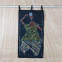 Batik cotton wall hanging, 'Spiritual Dance' - Handmade 100% Cotton Batik African Dance Wall Hanging