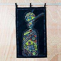 Batik cotton wall hanging, 'Ceremonious Ritual' - Handmade 100% Cotton Batik African Ceremony Wall Hanging