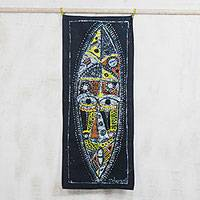 Cotton batik wall hanging, 'African Oracle Mask' - Handmade 100% Cotton Batik Wax African Mask Wall Hanging