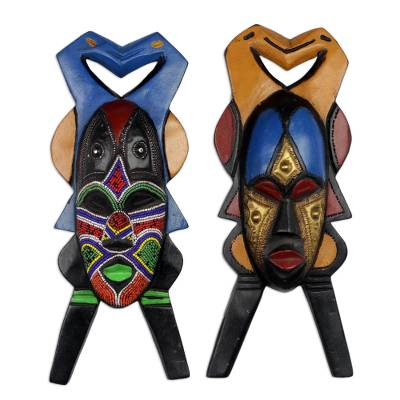 African wood masks, 'Good and Beautiful' (pair) - 2 Hand Carved Rubberwood African Masks from Ghana