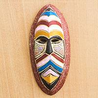 African wood and recycled glass bead mask, 'Accra Adventure' - Wood and Recycled Glass Beaded Wall Mask Carved in Ghana