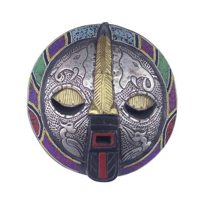 African wood, recycled glass beads, and aluminum mask, 'Kharyisile' - Ghanaian Aluminum and Recycled Glass Beaded Animal Wall Mask