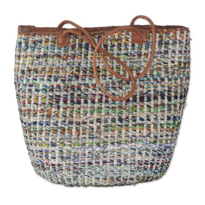 Handmade Cotton and Recycled Rubber Bag with Leather Accent