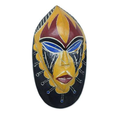African wood mask, 'Joy and Happiness' - Hand Carved Brown and Yellow African Mask from Ghana
