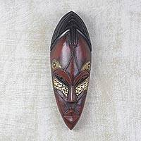 African wood mask, 'Zodwa' - Wood and Brass Wall Mask Hand Carved in Ghana