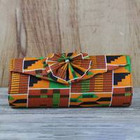 Cotton clutch, 'Kente Dream' - Multi-Colored Kente Print Bow Clutch with Brass Chain