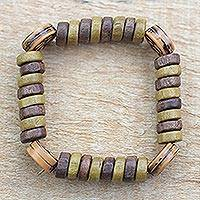 Wood and recycled plastic beaded stretch bracelet, 'Sharing Ife' - Wood and Recycled Plastic Beaded Stretch Bracelet from Ghana