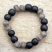 Wood and recycled plastic beaded stretch bracelet, 'Oredun' - Wood and Recycled Plastic Beaded Bracelet from Ghana