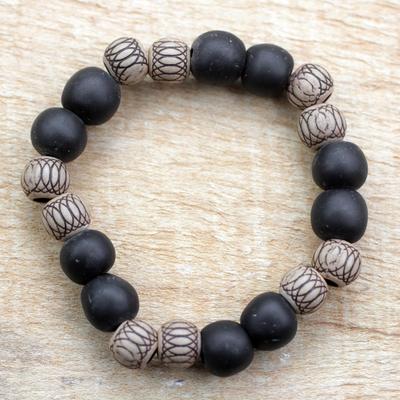 Novica Wood beaded stretch bracelet, Dark Fashion