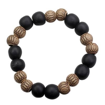 Fair Trade Wood and Recycled Plastic Black and Brown Stretch Bracelet