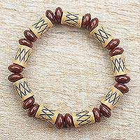 Recycled plastic beaded stretch bracelet, 'Romantic Malomo' - Recycled Plastic Beaded Stretch Bracelet from Ghana