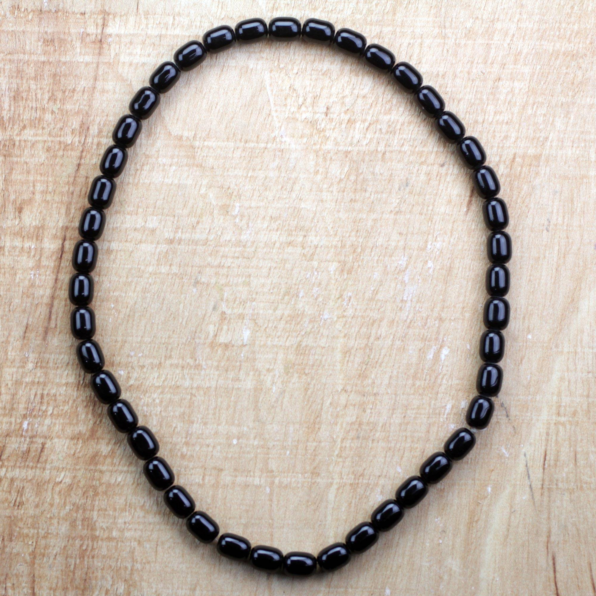 4b22928abf639 Black Recycled Glass Beaded Necklace from Ghana, 'Bead Chief'