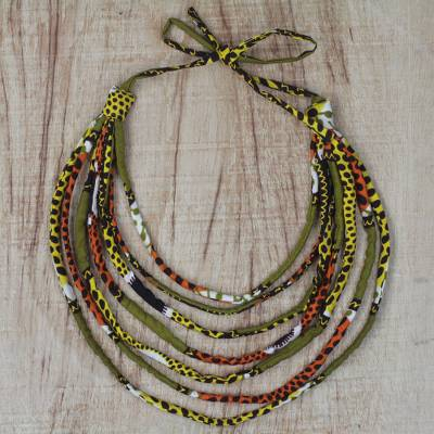 Cotton statement necklace, 'Textured Elegance' - Multi-Colored Cotton Fabric Multi-Strand Statement Necklace