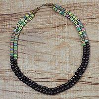 Wood and recycled plastic beaded necklace, 'Odo Asesa Me' - Wood and Recycled Plastic Beaded Necklace from Ghana
