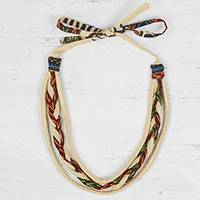 Cotton torsade necklace, 'Braided Grace' - Cotton Tie Back African Print Braided Torsade Necklace