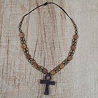 Wood pendant necklace, 'Odofa Me Ko' - Adjustable Sese Wood Beaded Ankh Pendant Necklace