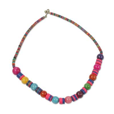 Multi-Colored Recycled Glass Agate Hand Beaded Necklace