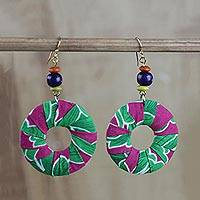 Cotton and wood dangle earrings, 'Praise' - Multi-Colored Cotton Print Circle Beaded Dangle Earrings