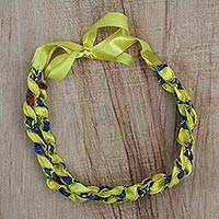 Cotton long necklace, 'Sunshine Lace' - African Blue and Yellow Cotton Print Statement Necklace