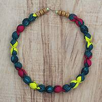Cotton beaded fabric necklace, 'Resolute' - Beaded Multi-Colored Cotton Fabric Necklace with Hook Clasp
