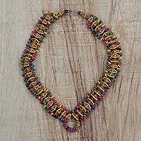 Beaded wood necklace, 'Rich Traditions' - Recycled Multi-Colored Sese Wood Beaded Necklace from Ghana