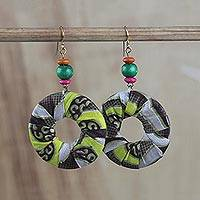 Cotton dangle earrings, 'Lovely Circles' - Cotton Fabric Print and Sese Wood Beaded Circle Earrings