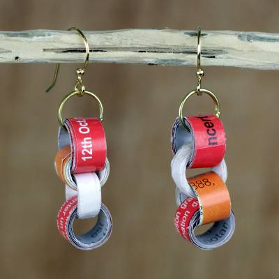 Recycled paper and wood dangle earrings, 'Eco Nkonson' - Chain Motif Recycled Paper Dangle Earrings from Ghana