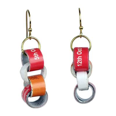 Chain Motif Recycled Paper Dangle Earrings from Ghana