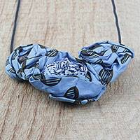 Cotton pendant necklace, 'Blue Fascination' - Printed Cotton Pendant Necklace from Ghana