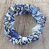 Cotton wrap bracelet, 'Ruffled Blue Beauty' - Ruffled Cotton Fabric Recycled Glass Bead Wrap Bracelet
