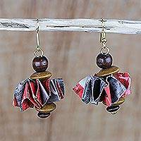 Recycled paper and wood dangle earrings, 'Tickled' - Recycled Paper and Wood Beaded Dangle Earrings from Ghana