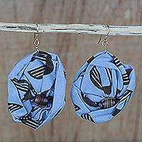 Cotton dangle earrings, 'Blue Fascination' - Blue Cotton Dangle Earrings from Ghana