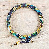 Cotton bangle bracelet, 'Wealthy Soul' - Printed Cotton Bangle Bracelet from Ghana