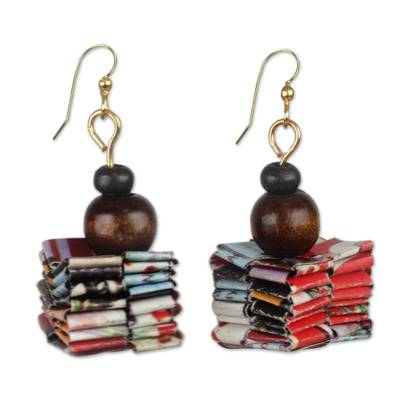 Handcrafted Recycled Paper and Wood Dangle Earrings
