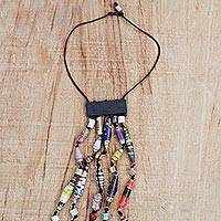Recycled paper waterfall necklace, 'Eco Tradition' - Recycled Paper Waterfall Necklace Crafted in Ghana