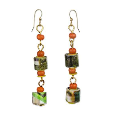 Handcrafted Recycled Paper and Sese Wood Dangle Earrings
