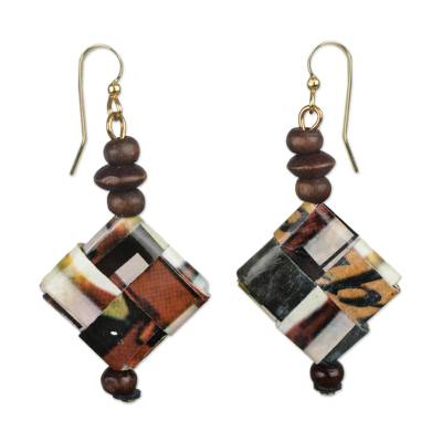 Recycled Paper and Sese Wood Dangle Earrings from Ghana