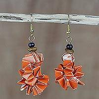 Recycled paper and wood dangle earrings, 'Orange Accordion' - Orange Recycled Paper and Sese Wood Earrings from Ghana