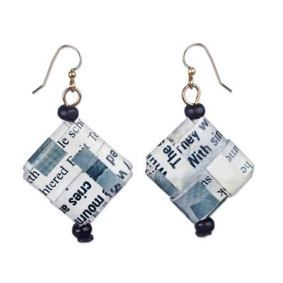 Text-Themed Recycled Paper Dangle Earrings from Ghana