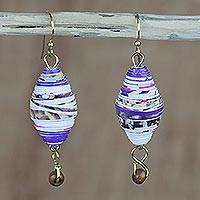 Recycled paper and wood dangle earrings, 'Majestic Abladei' - Handmade Recycled Paper and Wood Dangle Earrings from Ghana